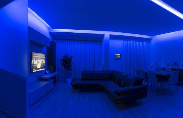 N 7 - Tende Chiuse e luci BLU accese